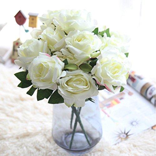HUHU833 7 Köpfe Rose Künstliche Blumen Sträuße Fake Blume für Dekoration Wohnaccessoires & Deko (Weiß)