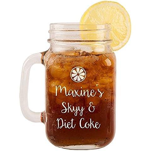 Personalised Skyy & Diet Coke vetro Mason Jar, Retro Vodka regalo a tema, compleanno