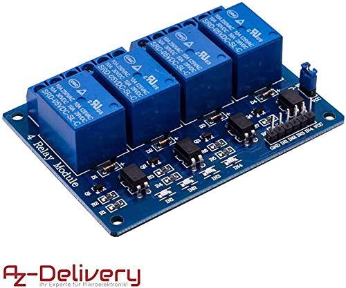 AZDelivery 4-Relais Modul 5V mit Optokoppler Low-Level-Trigger für Arduino