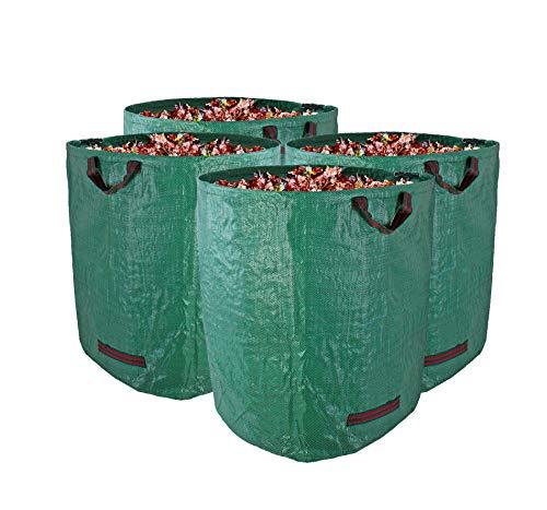 *Gartenabfallsack XXL 272L im 4er Set – Extra robustes Polypropylen-Gewebe 150g/m² – wasserdicht & reißfest – Perfekter Behälter für Laub, Müll, Grünabfall, Grüngut & Kompost*