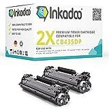 Inkadoo Toner kompatibel für HP Laserjet P1005, P1006, P1007, P1008 und P1009, ersetzt HP 35A, CB435A - Premium Drucker-Kartusche - Schwarz - 2X 1500 Seiten