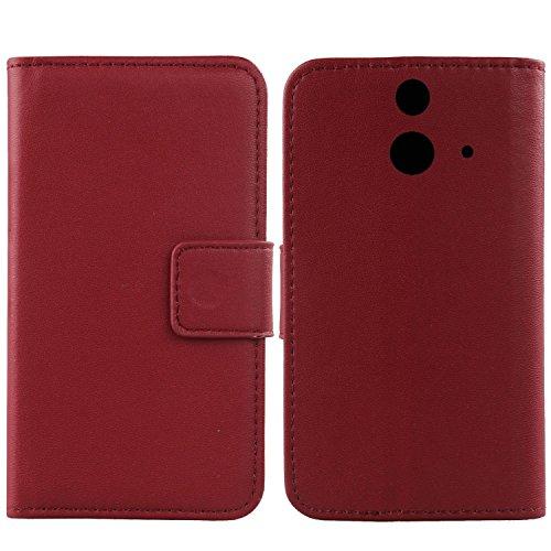 Gukas Design Echt Leder Tasche Für HTC One E8 Hülle Handy Flip Brieftasche mit Kartenfächer Schutz Protektiv Genuine Premium Case Cover Etui Skin Shell (Dark Rot)