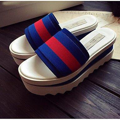 LvYuan Les nouvelles stations européennes croûte épaisseur muffin sandales orthographe couleur cuir sandales et pantoufles mot Blue