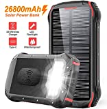 26800mAH Portable Phone Solar Charger, Qi Wireless Solar Power Bank-Rainproof Camping Battery Pack with 3.1A Fast Charging 4 Outputs 18 LED Flashlight Carabiner Type-C for Mobile Phone iPhone