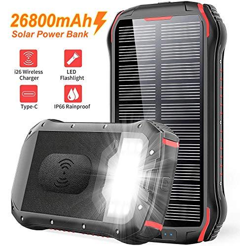 Solar PowerBank 26800mAh QI Wireless Solarladegerät Schnelles Aufladen Externer Akku Tragbare 4 Ausgang(3.1A USB/QI) 18 LED-Licht IP66 Wasserdicht für Smartphones, Handys, Outdoor Aktivitäten