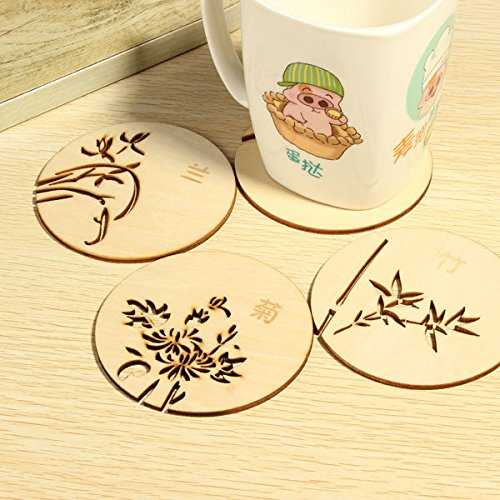Calli Té café taza bebida estera de la taza de madera ahuecar...