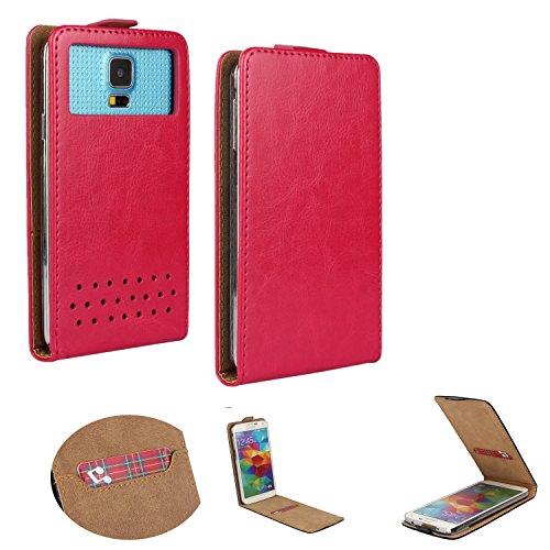 Handy Hülle für - Doro Liberto 820 MINI- Flip Tasche mit Kreditkartenfach - Flip Nano XS Pink