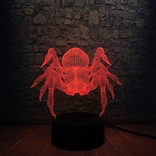 Großhandel Tier Topf-bauchige Spinne 3D LED USB Lampe Halloween Trick Spukhaus Dekoration 7 Farbe Birne Tisch Schreibtisch Nachtlicht