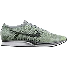 check out 6b5af 8daa9 Nike Women s Flyknit Racer White Cool Grey Green 526628-103 (Size