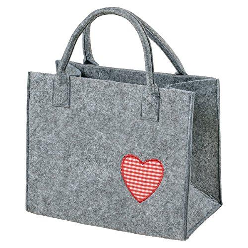 AS Design by LaFiore24 LaFiore24-Hochwertige Filztasche, Handtasche, Tragetasche, Organizer, Shopper, Festival Bag, Aufbewahrung mit Stilvoller Herz-Applikation (Hellgrau-Rot)