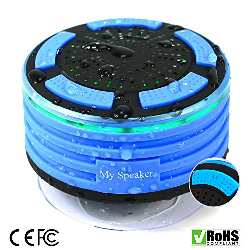 Price comparison product image Shower Radio Speakers with Subwoofer, Acekool IPX7 Waterproof Bluetooth Shower Speaker Wireless Portable Mini Speakers with Sucker for ANY BLUETOOTH DEVICE for Bathrooms, Bedrooms, Indoors and Outdoors (Blue)