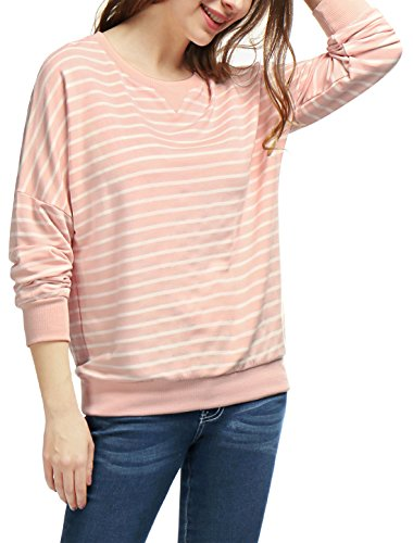 Femme ChutéÉpaule En Vrac À Rayures Sweatshirt pink