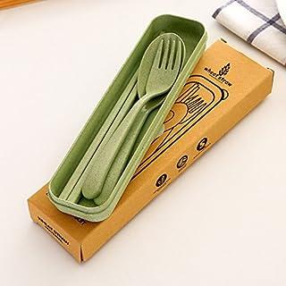 Gaddrt Portable Wheat Straw Chopsticks + Spoon + Fork Tableware Set, Students Families Travel School Picnic (Beige) (Green)