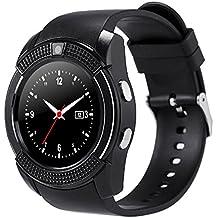 Smartwatch Demiawaking Reloj Inteligente V8 1.22inch Smart Watch TF Tarjeta SIM Bluetooth Smartwatch para el Teléfono (Negro)