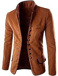 Minetom Uomo Inverno Moda Doppio Petto Giacche Capispalla Cappotto Jackets  Cardigan Risvolto Giacca Outwear Parka Slim Fit… e53ecf788e9