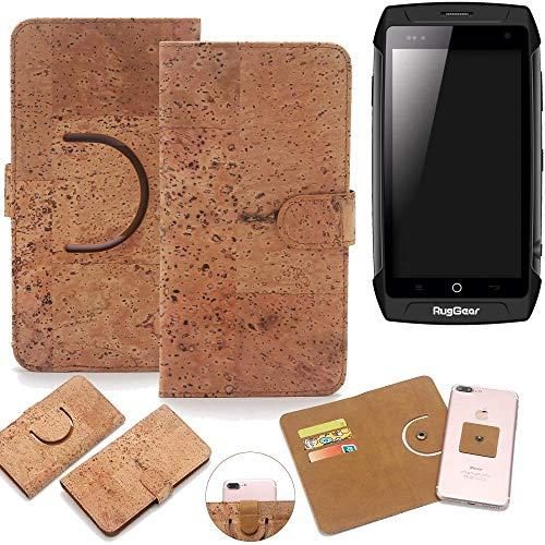 K-S-Trade Schutz Hülle für Ruggear RG730 Handyhülle Kork Handy Tasche Korkhülle Schutzhülle Handytasche Wallet Case Walletcase Flip Cover Smartphone