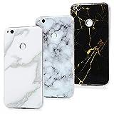 YOKIRIN P8 Lite 2017 Case Silikonhülle für Huawei P8 Lite 2017 Schutzhülle Marmor TPU Silikon Case Cover Handyhülle Flexible Transparent Rahmen Rutschfest Kratzfest Handytasche Jade weiß