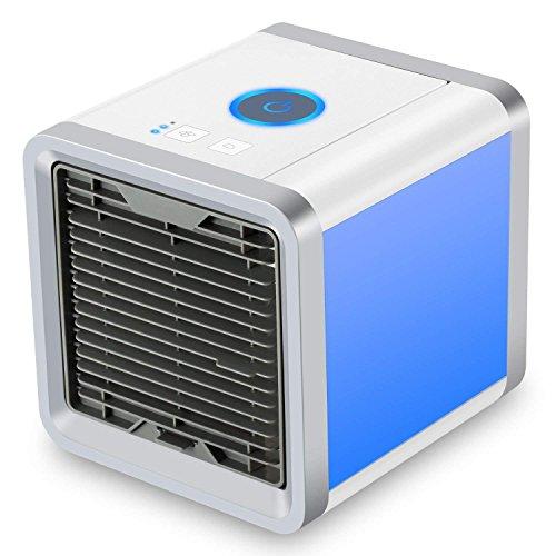 Dealux mini-condizionatore portatile con porta usb e funzione 3 in 1, climatizzatore, umidificatore e purificatore d'aria, ventilatore da tavolo per ufficio, hotel, garage, casa