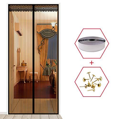 YXDDG Tür-moskitonetz mit Magnet-schiebetür Insektenschutz tür Katze Beweis Guard Anti-moskito-Magie mesh Full-Frame-Balkon-Design-schwarz 100x200cm(39x79inch)