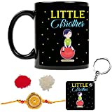 Funky Store Raksha Bandhan Gifts For Kid Little Brother, Little Brother Theam Ceramic Mug, Keychain With Rakhi,Roli Chawal (Combo Of 3)