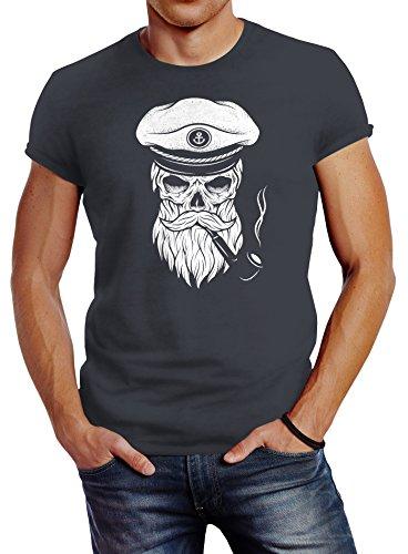 Herren T-Shirt Totenkopf Kapitän Captain Skull Bard Hipster Original Spirit Seemann Slim Fit Neverless® dunkelgrau M