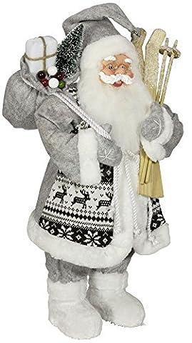 Weihnachtsmann Santa Nikolaus Evan mit schönem Gesicht und vielen Details / Größe ca.80cm / grauer gemusterter Fellmantel, graue Fellmütze, graue Hose, Fellstiefel -