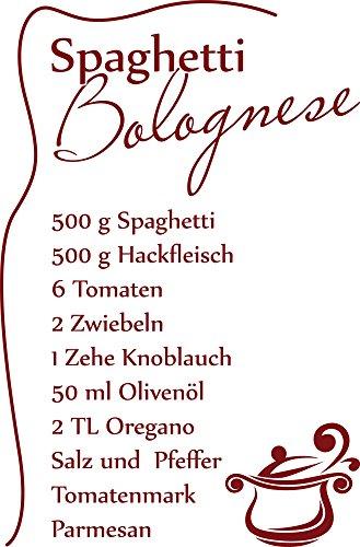 GRAZDesign 620560_30_030 Wandtattoo Küche Spaghetti Bolognese | Küchen-Aufkleber und Tattoo für Deine Wände - Schränke - Fliesen - Möbel | Selbstklebende Klebefolie (46x30cm//030 Dunkelrot)