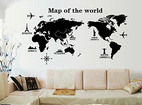 ufengke® Reisen Um Die Welt Weltkarte Wandsticker, Wohnzimmer Schlafzimmer Entfernbare Wandtattoos Wandbilder, A
