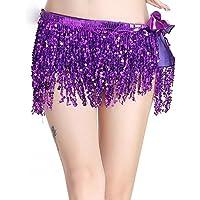 WLG Cadena de Cintura con Flecos y Danza del Vientre, Brazalete de Lentejuelas con Flecos, Vestido de Lentejuelas con Escenario, Cinturilla Bohemia,púrpura,Un tamaño