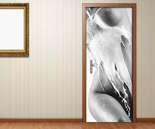 Tür Brust (Türaufkleber schwarz weiss Sexy Frau Schaum Erotik nackt Körper Brust Schlafzimmer Tür Bild Türposter Türfolie Druck Aufkleber sticker 15A3385, Türgrösse:80cmx200cm)