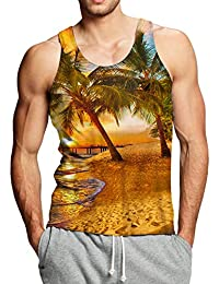 10d679a79abc67 Adicreat Men 3D Printed Funny Tank Tops Sleeveless Round Neck Vest T-Shirt  for Gym