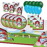 Sconosciuto Feste Partito Fattoria Animali Compleanno 8 Bambini Ragazza Ragazzo Decorazione Tavolo Stoviglie 1 Tovaglia 8 Piatti 8 Tazze 16 Tovaglioli 8 Bambini