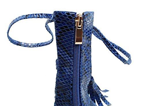 Sandali tacco alto Serpentine caricamenti del sistema freddi peep toe Legato con fiocco scarpe Blue