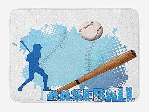 CHKWYN Baseball Bath Mat, Silhouette of A Baseball Player with Basic Game Icons Kicking with Bat Sports, Plush Bathroom Decor Mat with Non Slip Backing, 23.6 W X 15.7 W Inches, Blue and White