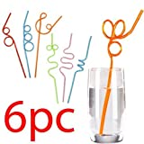 PACK OF 6 CRAZY CURLY NOVELTY METALLIC COLOURED DRINKING STRAWS KIDS PARTY NEW