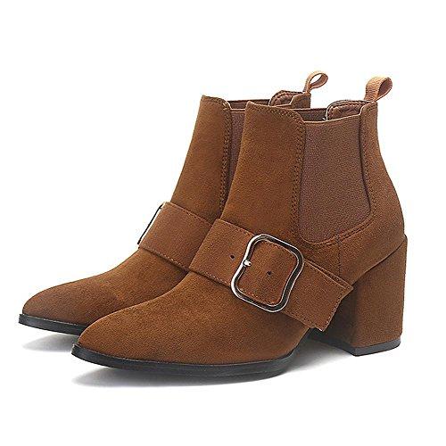 Donna breve stivali tacchi alti in pelle spessa caldo elastico fibbia alla caviglia scarpe, BROWN-36 BROWN-39