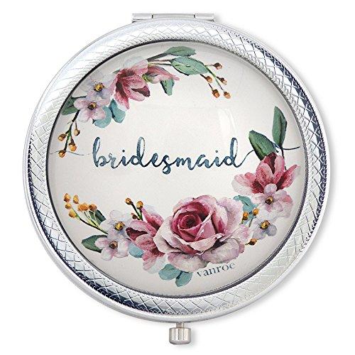 Vanroe Bridesmaid 'Luxury Compact Spiegel mit Dusky Pink Roses–Geschenk-Box, Andenken Geschenk Idee, vergrößert (Auge Kompakte True)