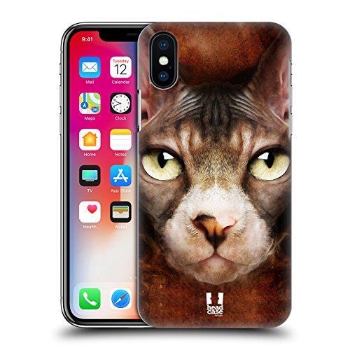 Head Case Designs Tigre Volti Di Animali Cover Retro Rigida per Apple iPhone X Cucciolo Di Sphynx