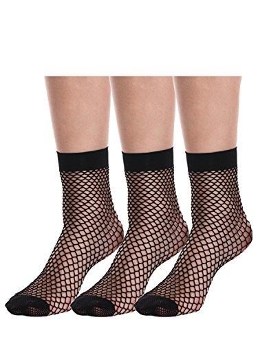 AMORETU 3 Paar Fischnetz Söckchen Frauen Reizvolle Schwarz Netzstrümpfe Kurze Knöchel Socken