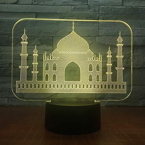 Moslemisches Tempel-Schloss 7 bunter USB 3d führte Lampen-Schlafzimmer-Büro-Dekorations-Schreibtisch-Tischlampen-Nachtlichter mit Note