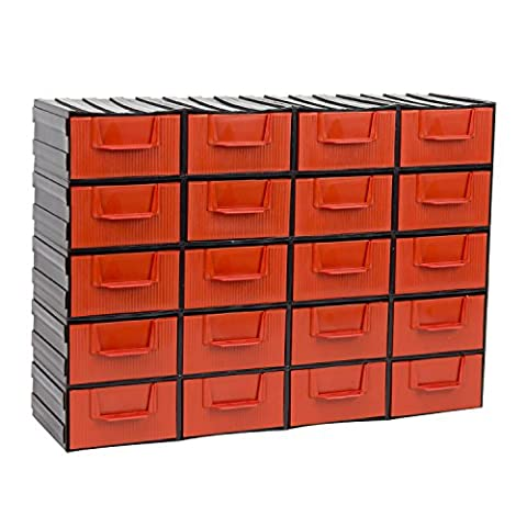 Red 20-drawer plastic modular storage cabinet/organiser