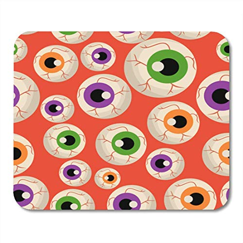 Gaming Mauspad Green Animal Halloween Eye Pattern Red Abstract Cartoon Closeup Color 11.8