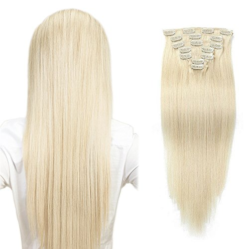 Komfami Remy Extension de Cheveux Clip Dans Extension de Cheveux Cheveux Humains Cheveux Naturels 100 Grammes (45cm, #60 Blond Platine)
