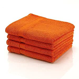 10 tlg. etérea Handtuchset in Orange, schwere flauschige (gekämmte) Baumwolle 500 g/m² Qualität, 2 Badetücher / Duschtücher, 4 Handtücher, 2 Gästetücher und 2 Waschhandschuhe