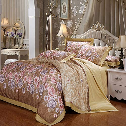 Ysprings Einfache Baumwollsatinfarbe Baumwoll-Hohlsaum-Jacquard-Bettwäsche 4-teiliges Set (Color : Brown, Size : Queen) -