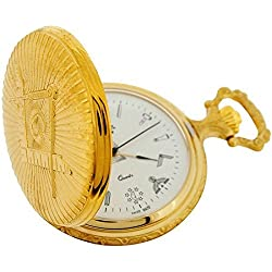 Bernex Quartz Goldplated Full Hunter Masonic Gents Pocket Watch GB21112