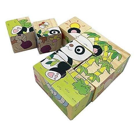 Rolimate Animal Forest Cube Bois Bloquer Puzzles - Kangaroo autruche Chameaux Apes Snakes (Panda)