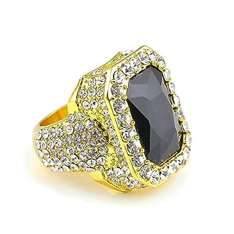 KnSam Herren-Ring 18K Gold Vergoldet Eheringe Quadrat Trauringe Schwarz Zirkonia Straß für Männer Gold Größe 60