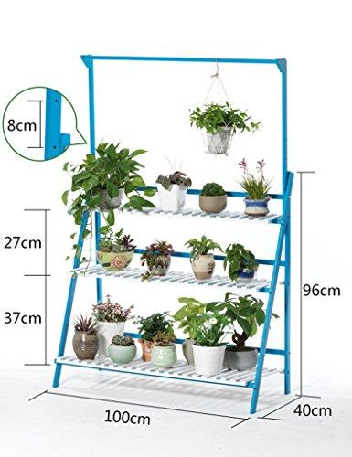 ZCJB Etagères de plantes Salon Suspension multicouche Porte-serviettes en bois massif Balcon de plantes succulentes Porte-pots de fleurs Simple (Couleur : Bleu, taille : 100cm)