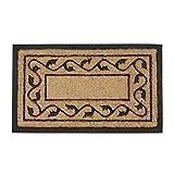 Relaxdays Fußmatte aus Kokos Fasern und PVC Gummi rutschfest als Fußabtreter für Innen & Außen mit dekorativem Blumen Muster als nachhaltige Kokosmatte und Türmatte HBT: 2 x 75 x 45 cm, natur